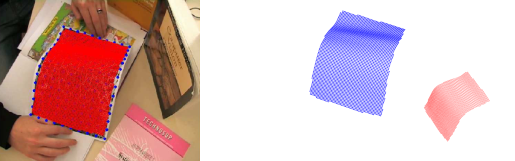 The original surface in blue shows the original deformation estimated from a video sequence. The smaller red mesh is cloned from the original but resized by two and rotated.